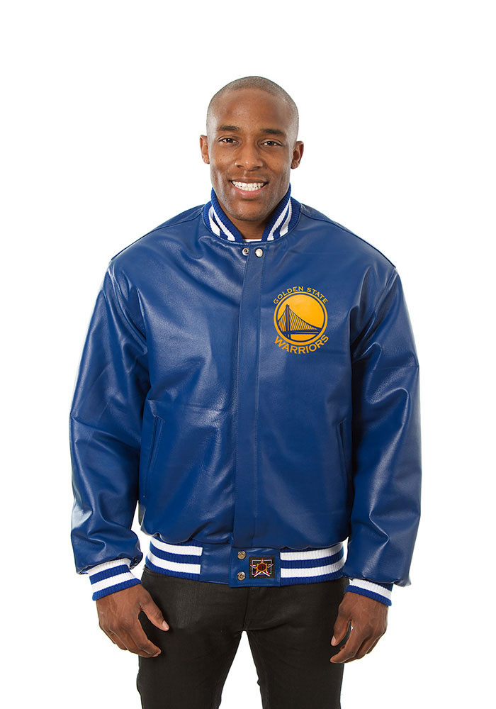 Golden State Warriors Mens Blue all leather jacket Heavyweight Jacket - Image 1