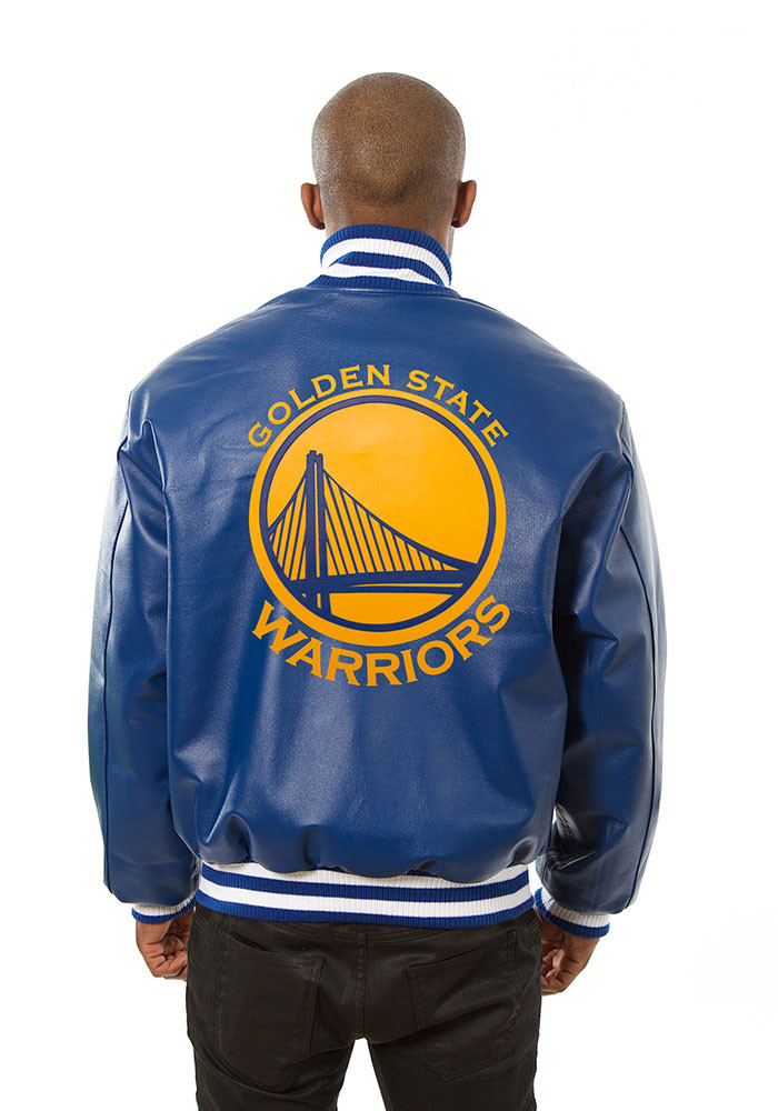 Golden State Warriors Mens Blue all leather jacket Heavyweight Jacket - Image 2
