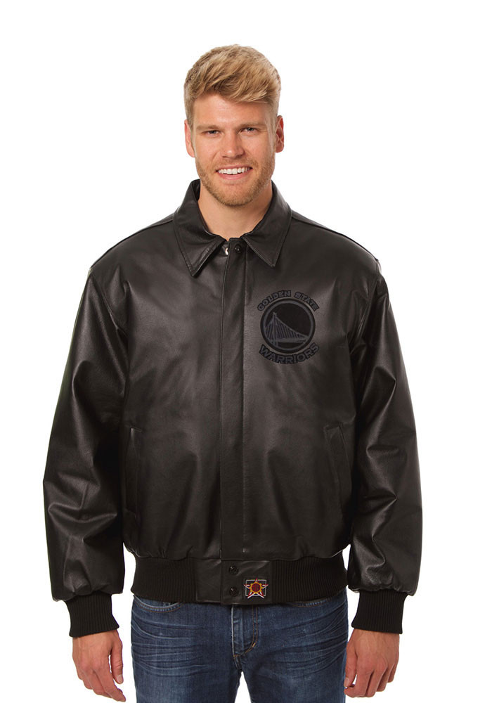 Golden State Warriors Mens Black all leather jacket Heavyweight Jacket - Image 1