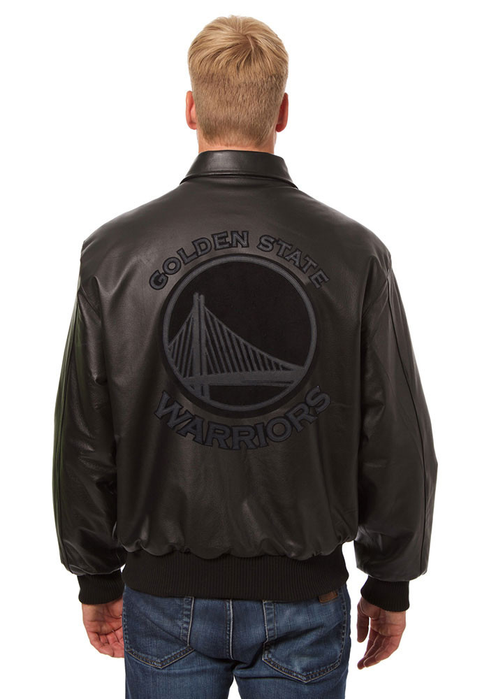 Golden State Warriors Mens Black all leather jacket Heavyweight Jacket - Image 2
