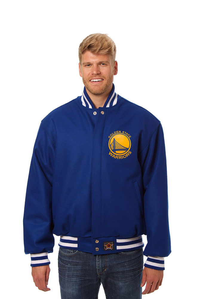 Golden State Warriors Mens Blue all wool jacket Heavyweight Jacket - Image 1