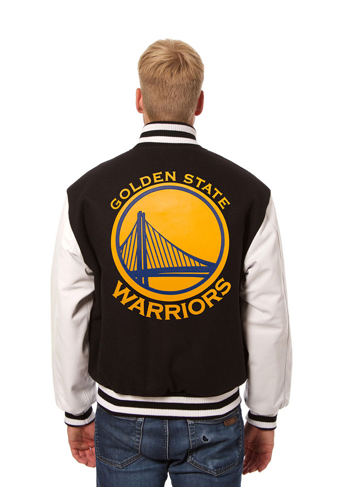 Golden State Warriors Mens Black wool body, leather sleeve jacket Heavyweight Jacket - Image 2