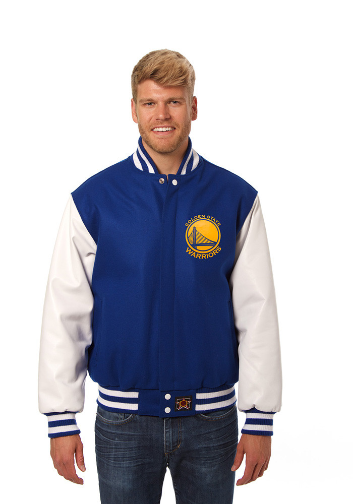 Golden State Warriors Mens Blue wool body, leather sleeve jacket Heavyweight Jacket - Image 1