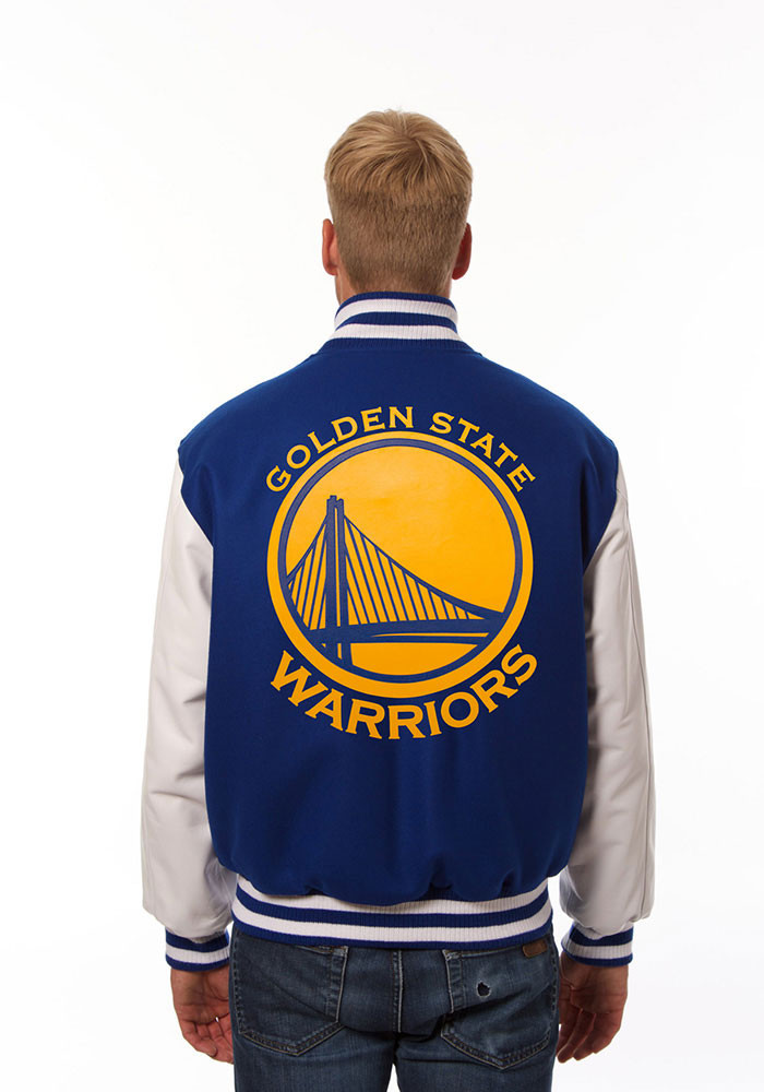 Golden State Warriors Mens Blue wool body, leather sleeve jacket Heavyweight Jacket - Image 2