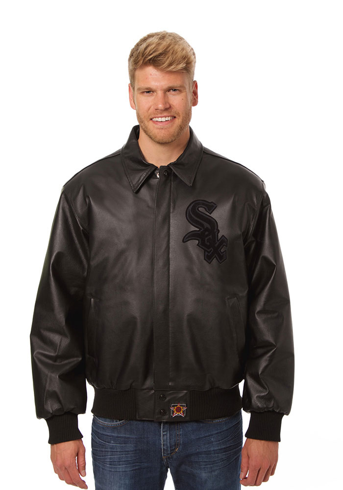 Chicago White Sox Mens Black all leather jacket Heavyweight Jacket - Image 1