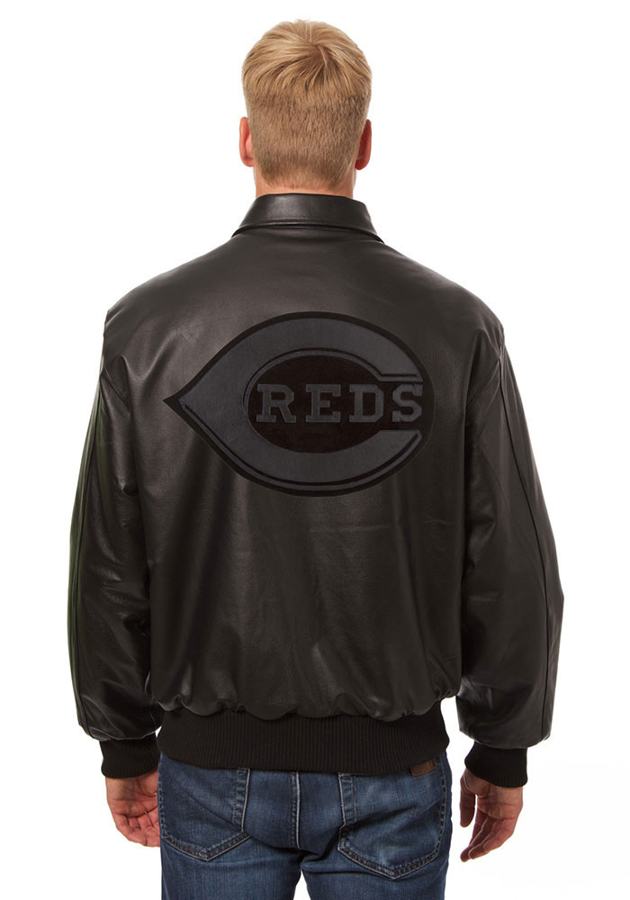 Cincinnati Reds Mens Black all leather jacket Heavyweight Jacket - Image 2