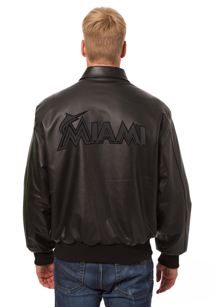 Miami Marlins Mens Black all leather jacket Heavyweight Jacket - Image 2
