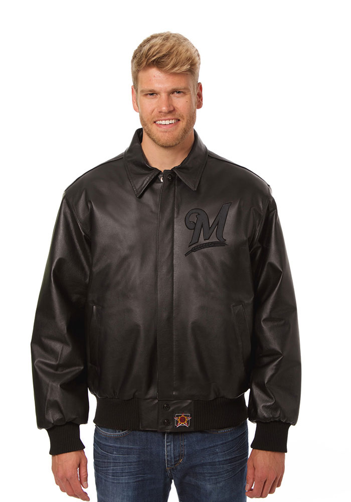 Milwaukee Brewers Mens Black all leather jacket Heavyweight Jacket - Image 1