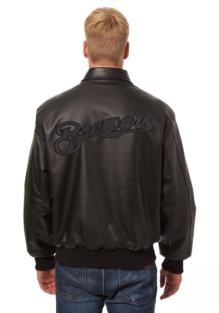 Milwaukee Brewers Mens Black all leather jacket Heavyweight Jacket - Image 2