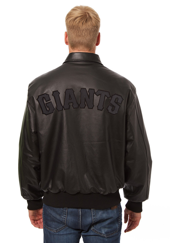 San Francisco Giants Mens Black All leather jacket Heavyweight Jacket - Image 2
