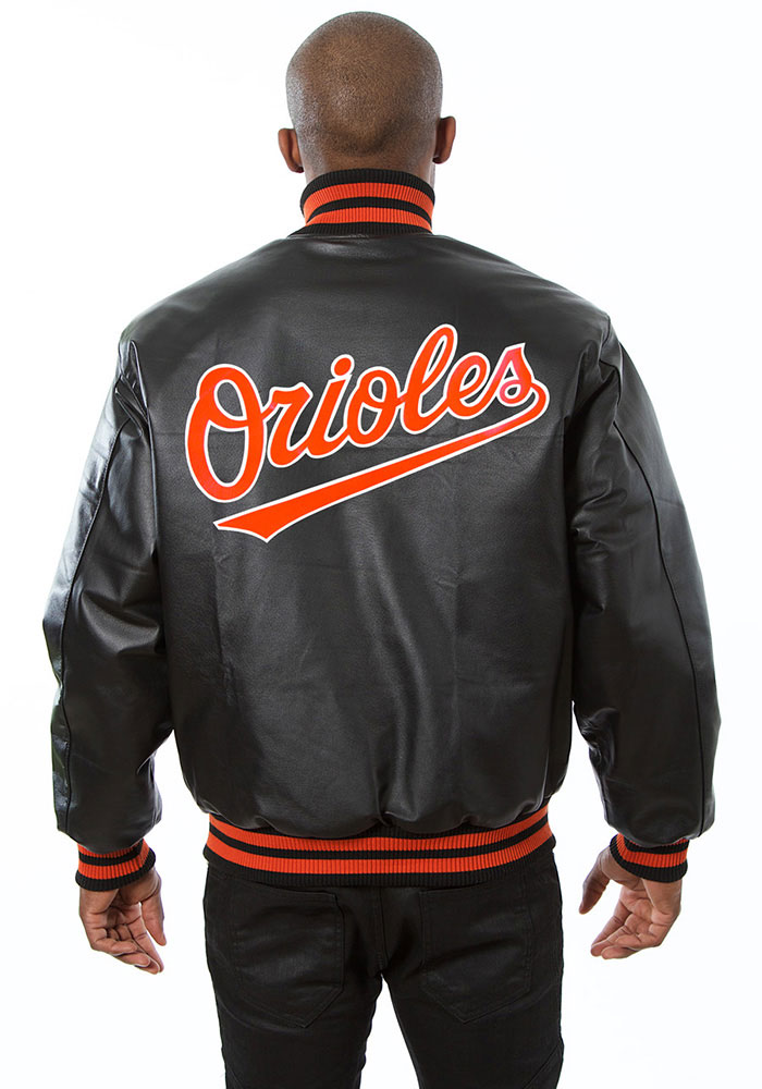 Baltimore Orioles Mens Black All leather jacket Heavyweight Jacket - Image 2
