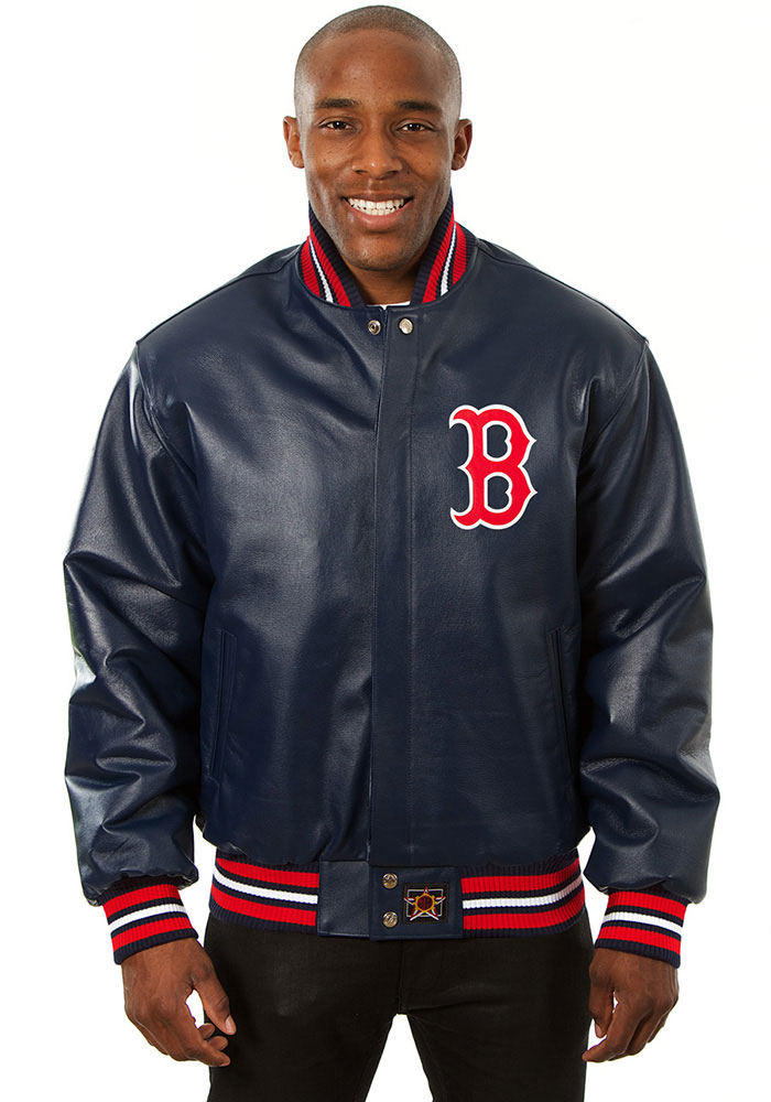 Boston Red Sox Mens Navy Blue All leather jacket Heavyweight Jacket - Image 1