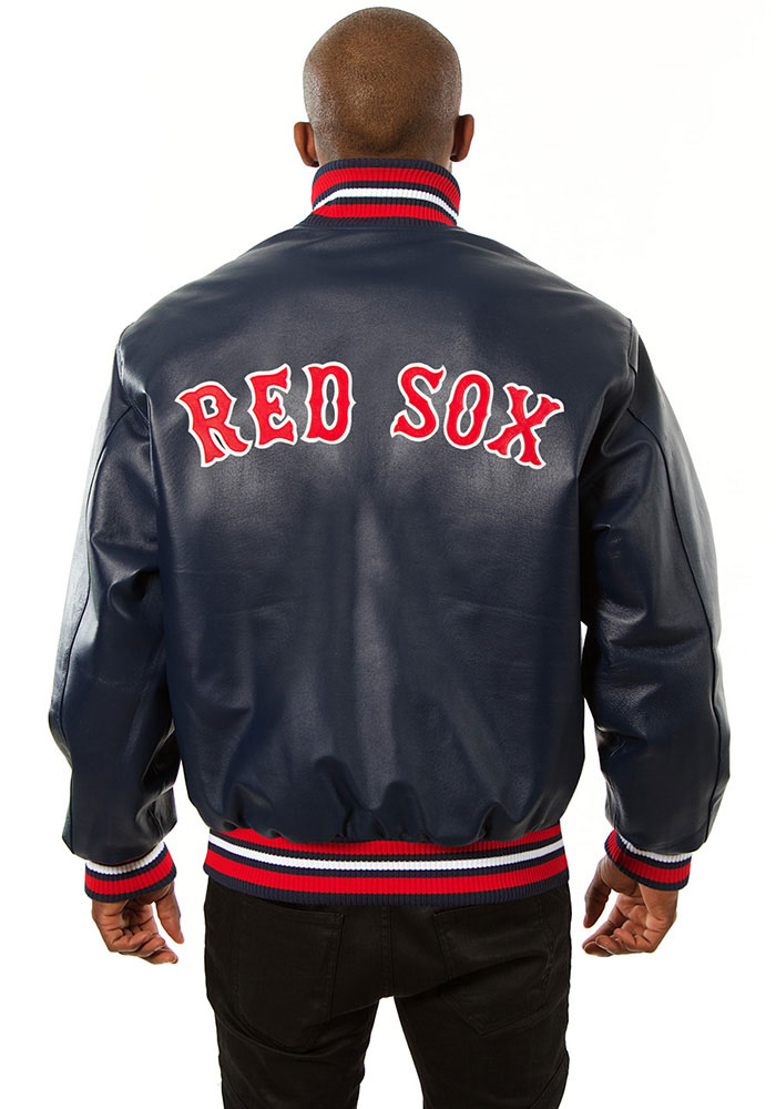 Boston Red Sox Mens Navy Blue All leather jacket Heavyweight Jacket - Image 2