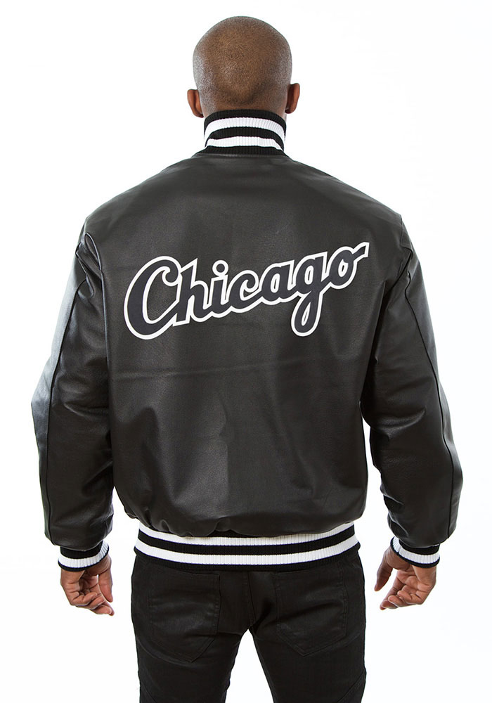 Chicago White Sox Mens Black All leather jacket Heavyweight Jacket - Image 2
