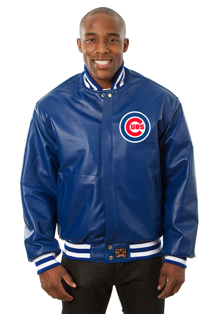 Chicago Cubs Mens Blue All leather jacket Heavyweight Jacket - Image 1