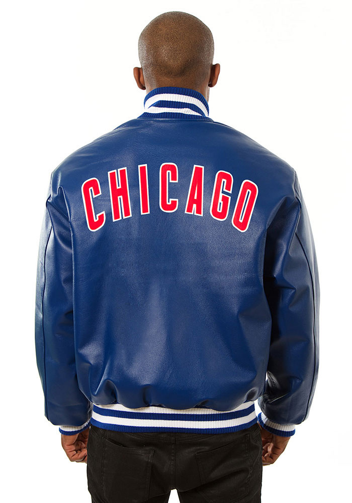 Chicago Cubs Mens Blue All leather jacket Heavyweight Jacket - Image 2
