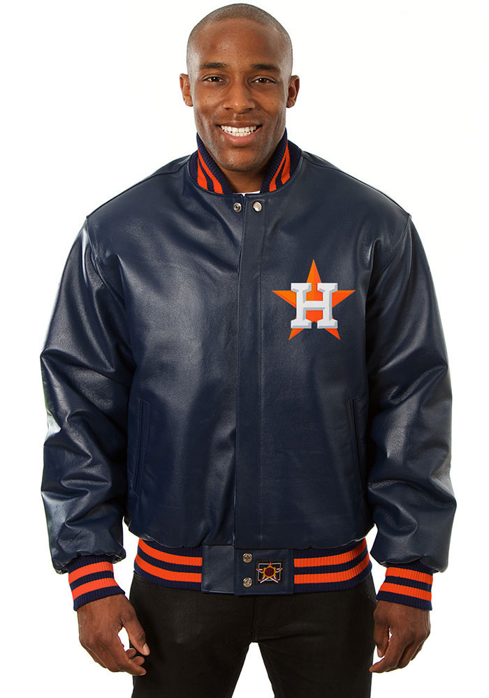 Houston Astros Mens Navy Blue All leather jacket Heavyweight Jacket - Image 1