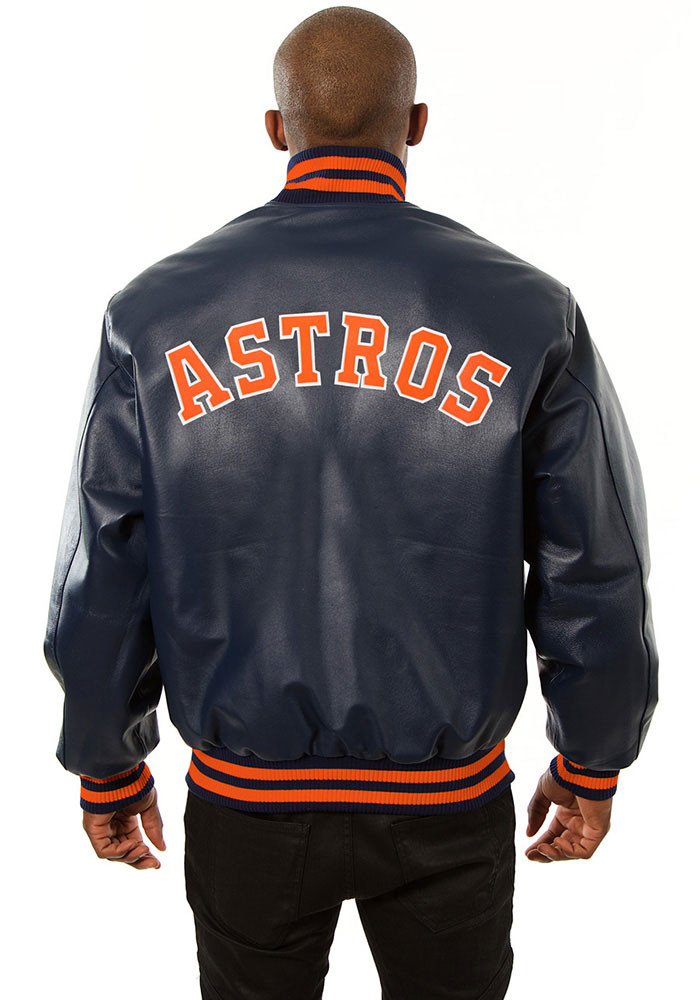 Houston Astros Mens Navy Blue All leather jacket Heavyweight Jacket - Image 2