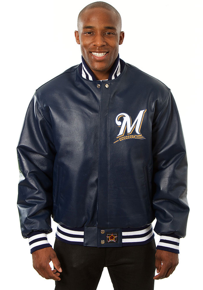 Milwaukee Brewers Mens Navy Blue All leather jacket Heavyweight Jacket - Image 1