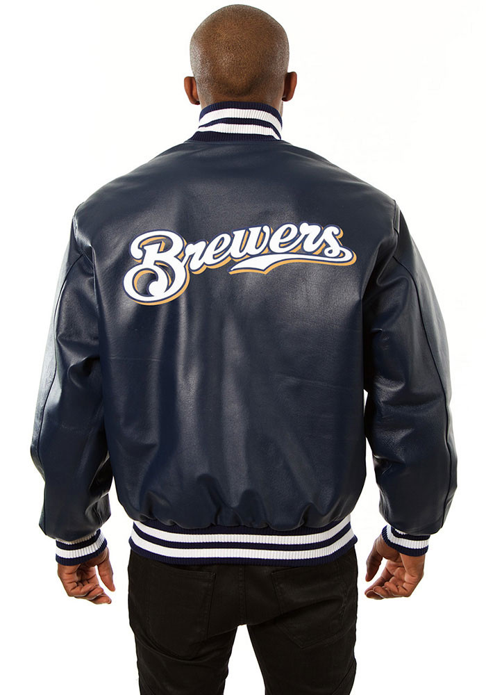 Milwaukee Brewers Mens Navy Blue All leather jacket Heavyweight Jacket - Image 2