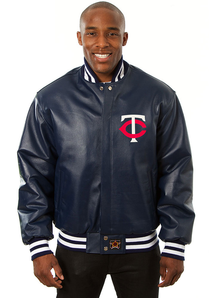 Minnesota Twins Mens Navy Blue All leather jacket Heavyweight Jacket - Image 1