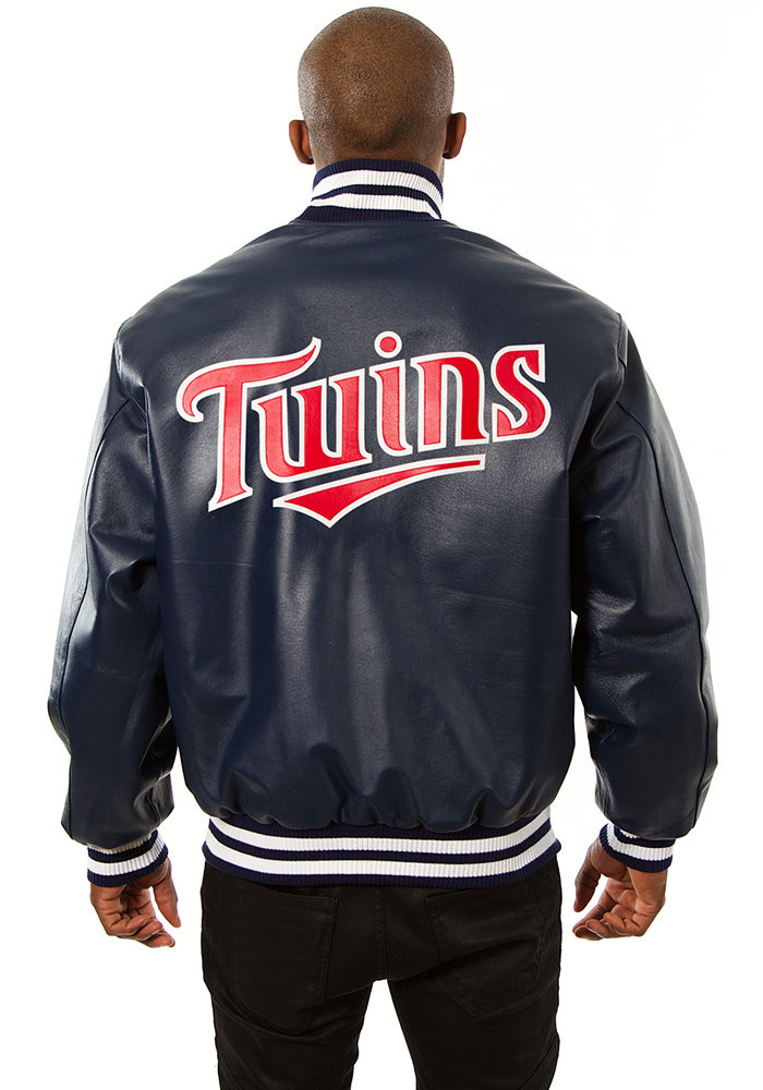 Minnesota Twins Mens Navy Blue All leather jacket Heavyweight Jacket - Image 2