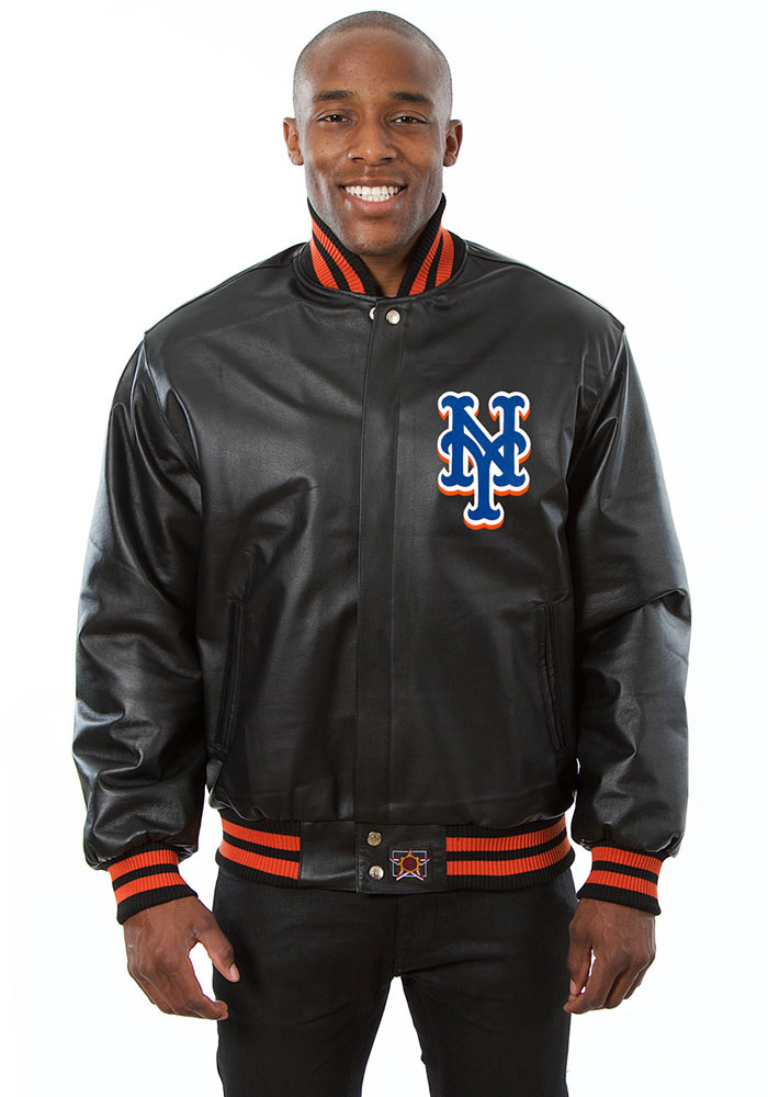 New York Mets Mens Black All leather jacket Heavyweight Jacket - Image 1