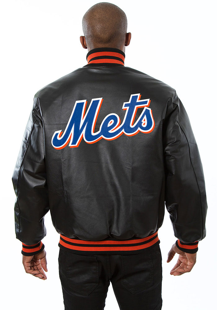 New York Mets Mens Black All leather jacket Heavyweight Jacket - Image 2
