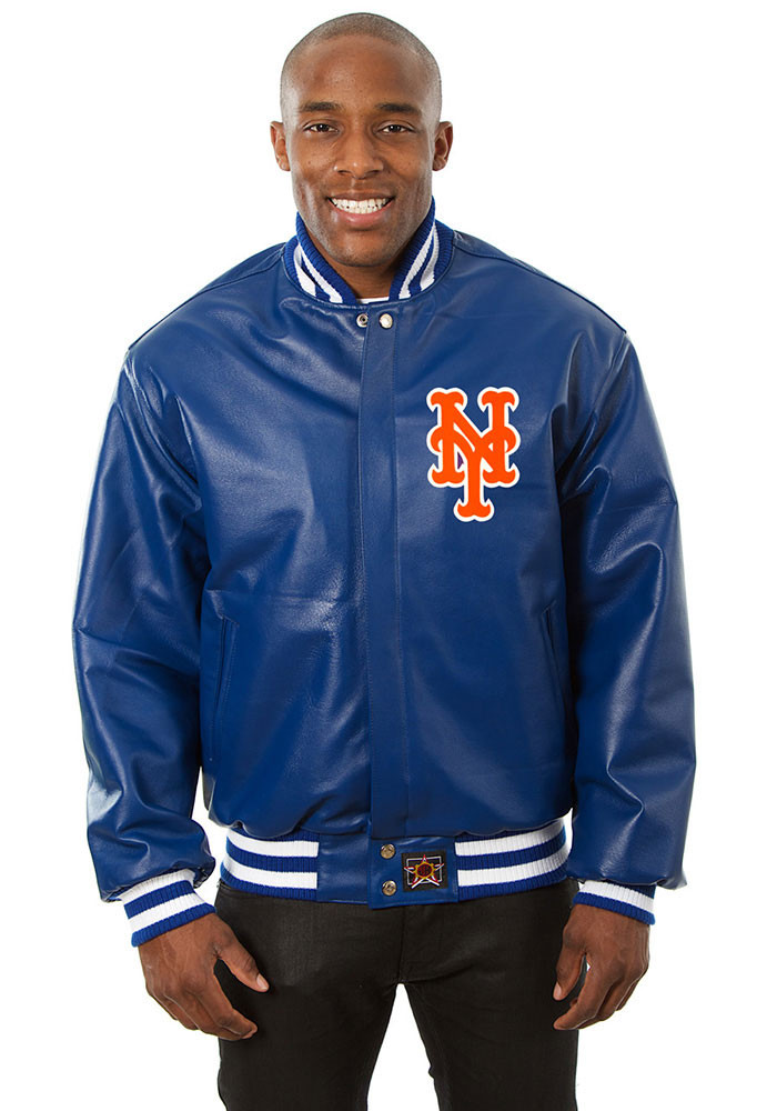 New York Mets Mens Blue All leather jacket Heavyweight Jacket - Image 1