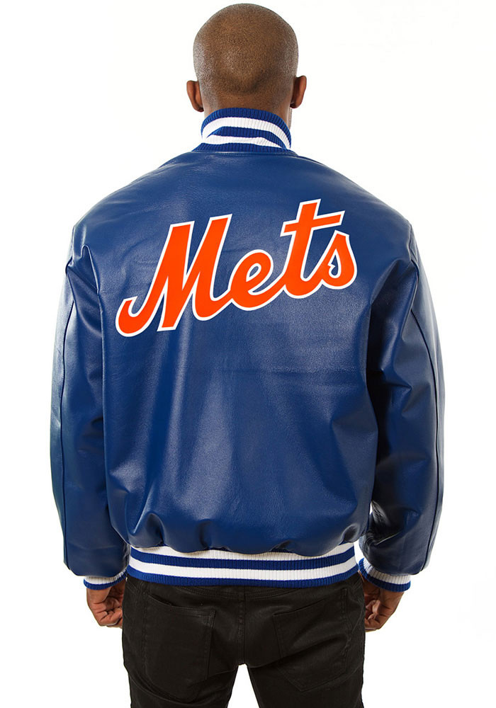 New York Mets Mens Blue All leather jacket Heavyweight Jacket - Image 2