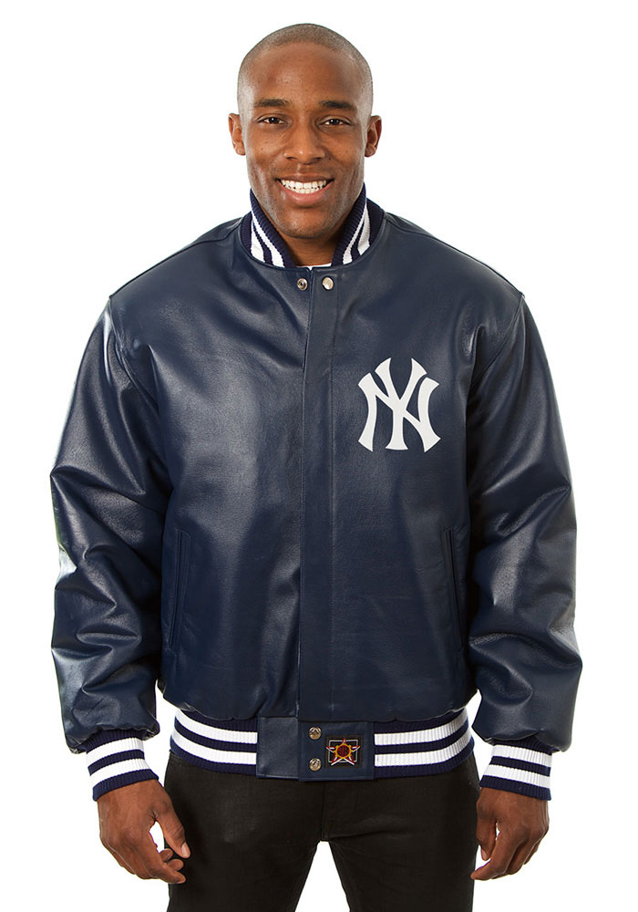 New York Yankees Mens Navy Blue All leather jacket Heavyweight Jacket - Image 1