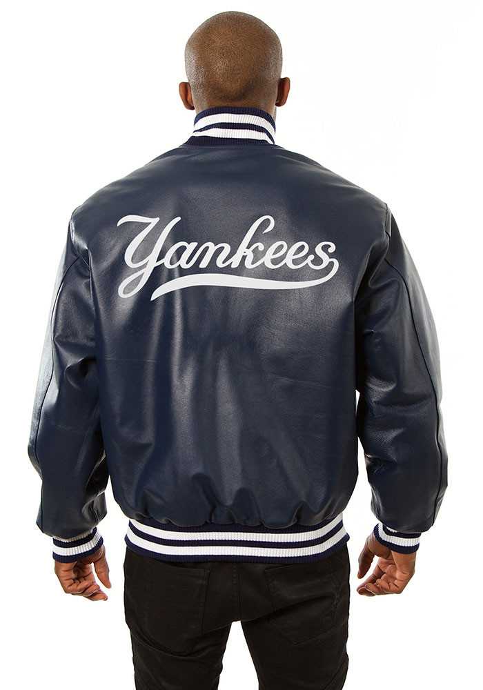 New York Yankees Mens Navy Blue All leather jacket Heavyweight Jacket - Image 2