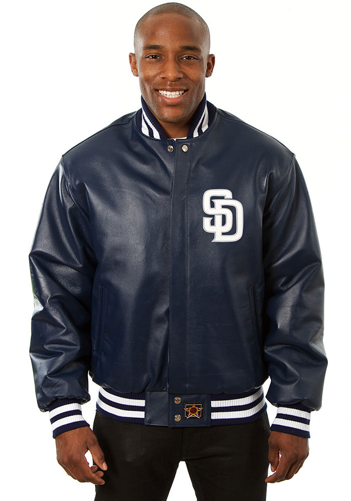 San Diego Padres Mens Navy Blue All leather jacket Heavyweight Jacket - Image 1