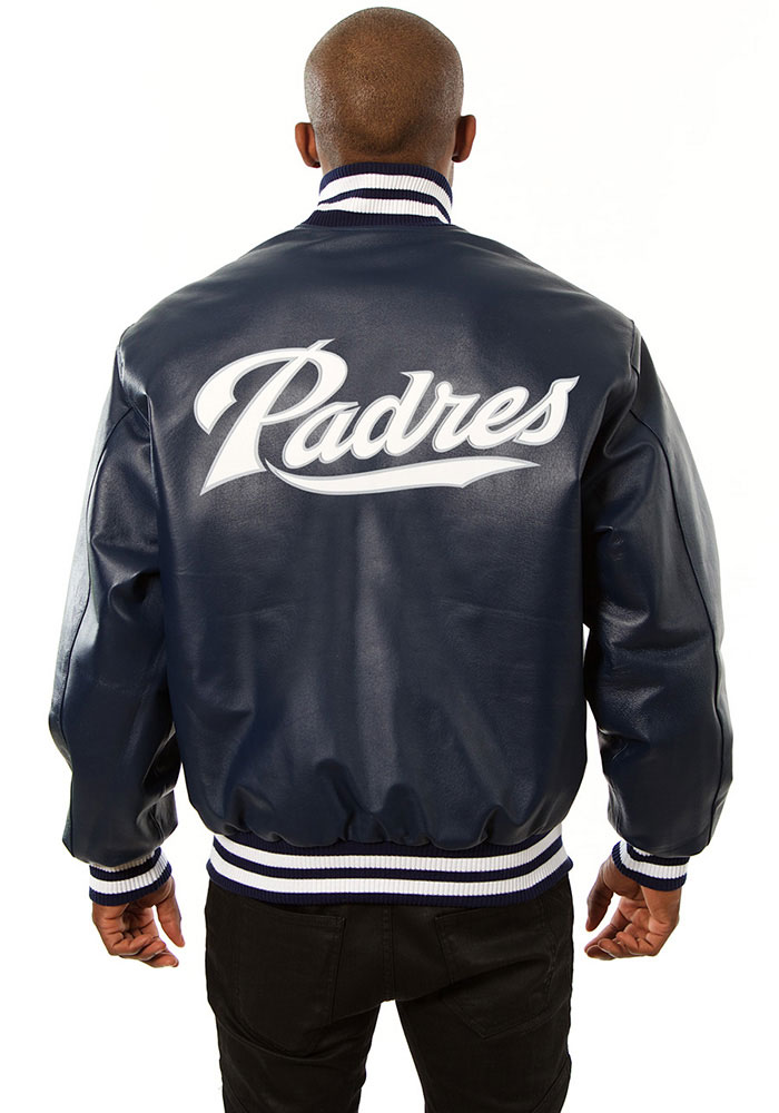San Diego Padres Mens Navy Blue All leather jacket Heavyweight Jacket - Image 2