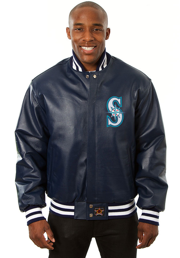 Seattle Mariners Mens Navy Blue All leather jacket Heavyweight Jacket - Image 1