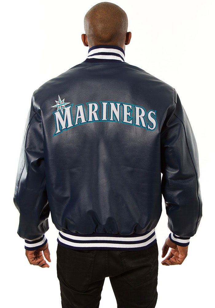 Seattle Mariners Mens Navy Blue All leather jacket Heavyweight Jacket - Image 2