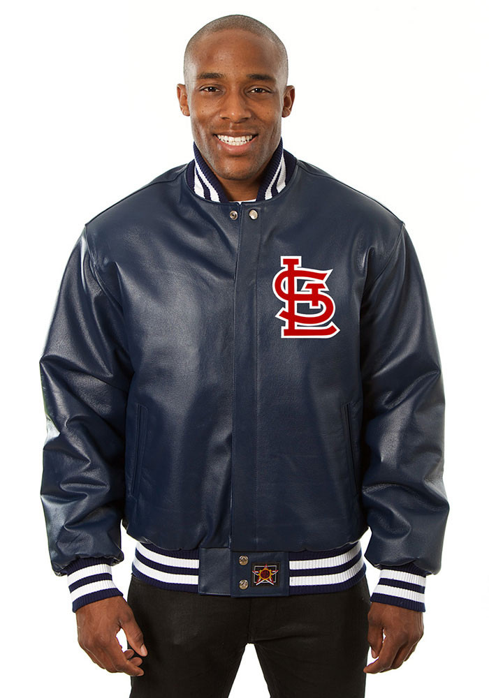 St. Louis Cardinals Mens Navy Blue All leather jacket Heavyweight Jacket - Image 1