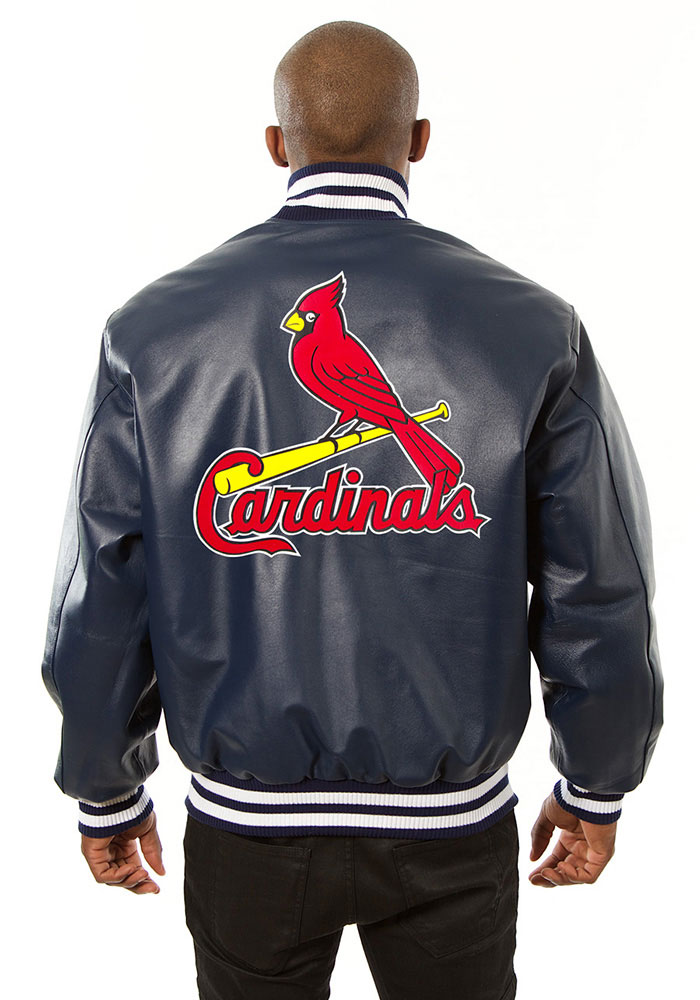 St. Louis Cardinals Mens Navy Blue All leather jacket Heavyweight Jacket - Image 2