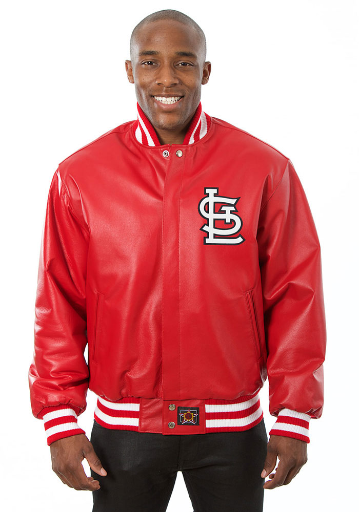St. Louis Cardinals Mens Red All leather jacket Heavyweight Jacket - Image 1