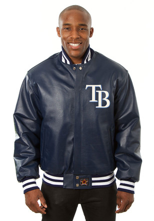 Tampa Bay Mens Navy Blue All leather jacket Heavyweight Jacket