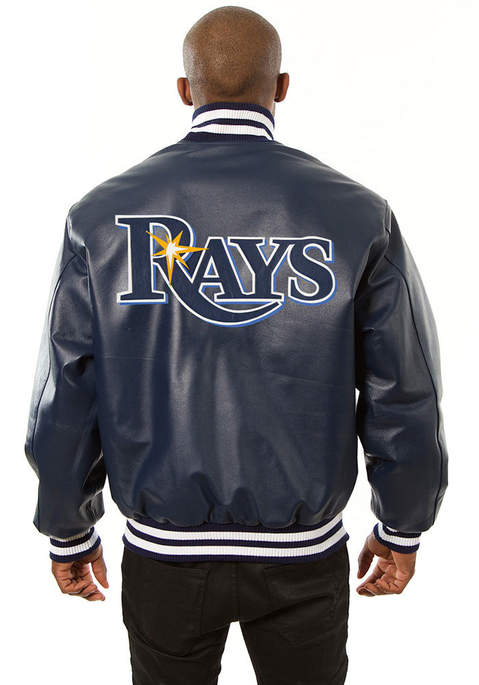 Tampa Bay Rays Mens Navy Blue All leather jacket Heavyweight Jacket - Image 2