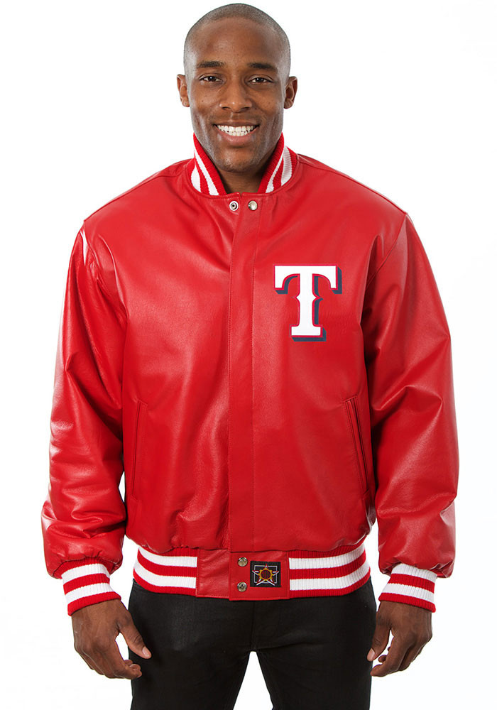 Texas Rangers Mens Red All leather jacket Heavyweight Jacket - Image 1