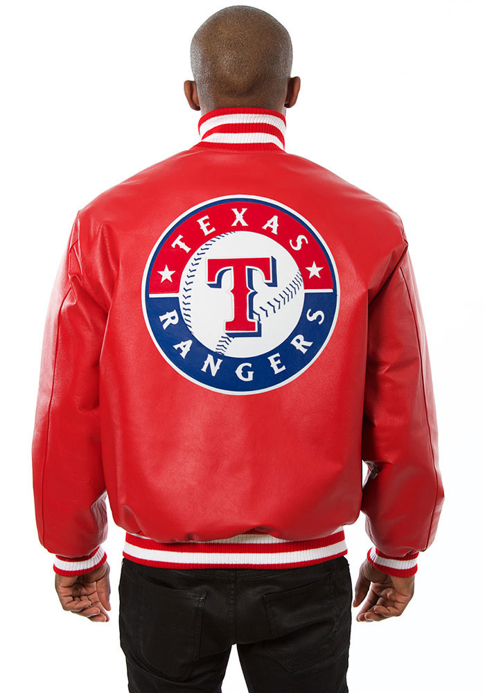Texas Rangers Mens Red All leather jacket Heavyweight Jacket - Image 2