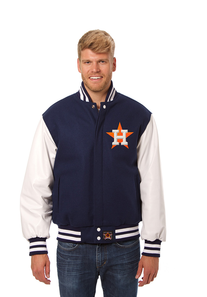 Houston Astros Mens Navy Blue Wool body, leather sleeve jacket Heavyweight Jacket - Image 1