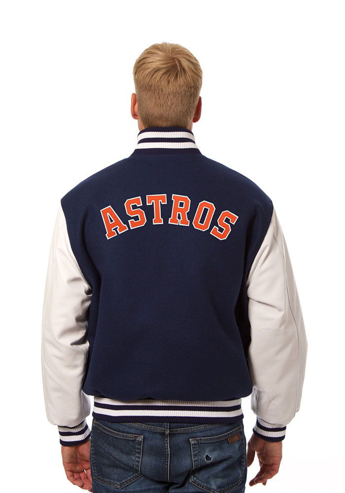 Houston Astros Mens Navy Blue Wool body, leather sleeve jacket Heavyweight Jacket - Image 2