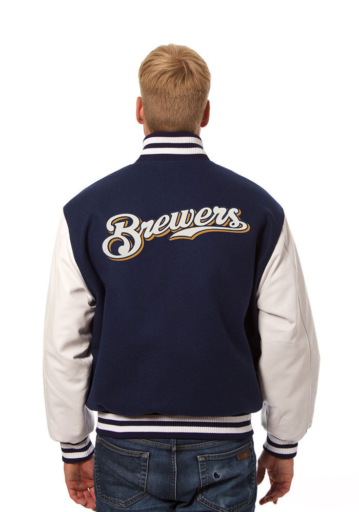 Milwaukee Brewers Mens Navy Blue Wool body, leather sleeve jacket Heavyweight Jacket - Image 2