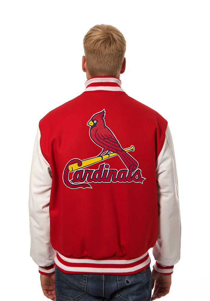 St. Louis Cardinals Mens Red Wool body, leather sleeve jacket Heavyweight Jacket - Image 2