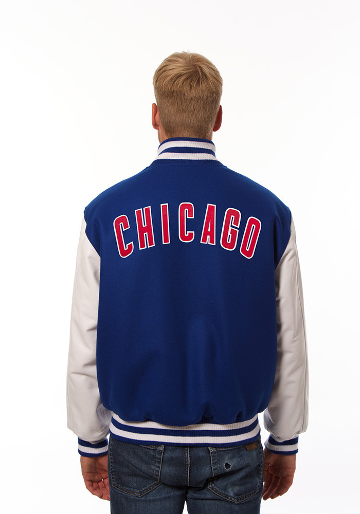 Chicago Cubs Mens Blue Wool body, leather sleeve jacket Heavyweight Jacket - Image 2