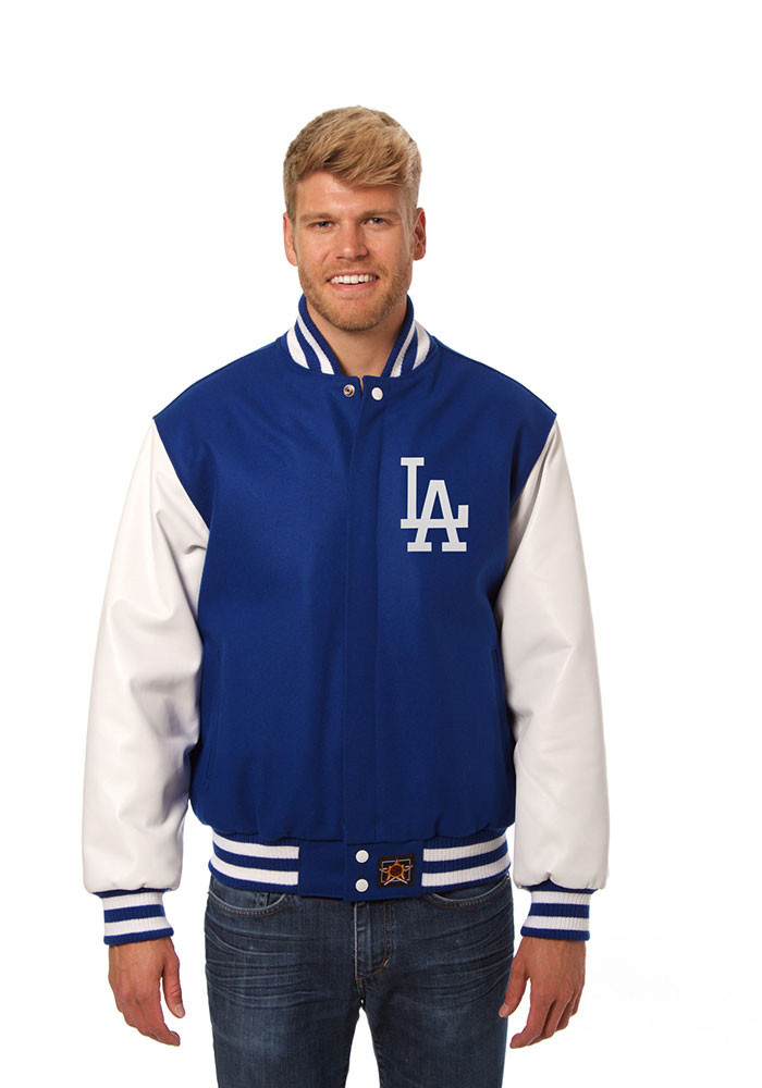 Los Angeles Dodgers Mens Red Wool body, leather sleeve jacket Heavyweight Jacket - Image 1