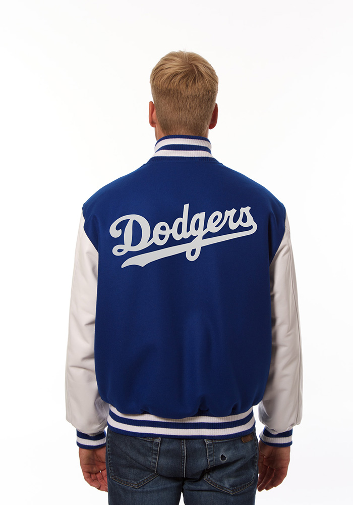 Los Angeles Dodgers Mens Red Wool body, leather sleeve jacket Heavyweight Jacket - Image 2